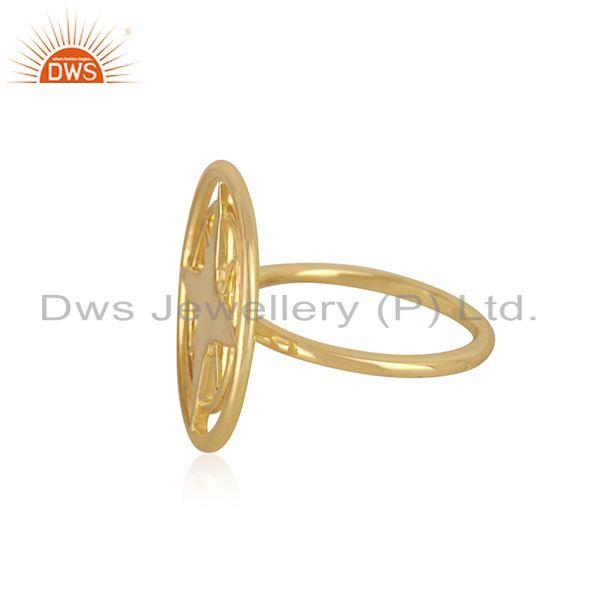 Suppliers Compass Yellow Gold Plated 925 Silver Lucky Ring Wholesaler from Jaipur India