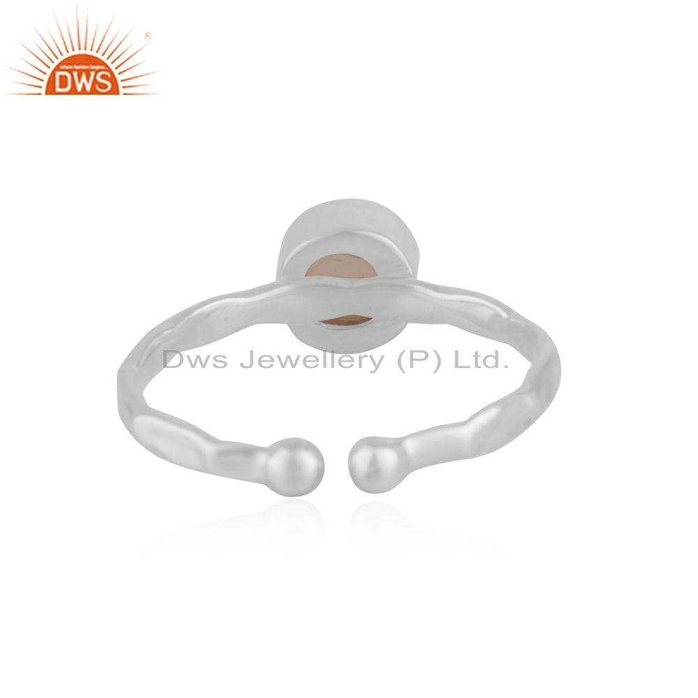 Suppliers Rose Chalcedony Gemstone Fine Sterling Silver Ring Wholesale