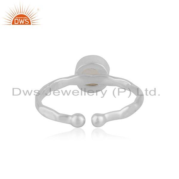 Suppliers Rainbow Moonstone Handmade 925 Sterling Fine Silver Ring Manufacturer India