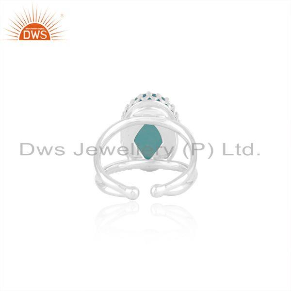 Suppliers Aqua Chalcedony Gemstone 925 Silver Crown Ring Manufacturer India