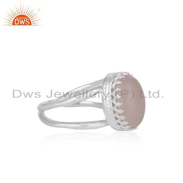 Suppliers Crown Design Sterling Fine Silver Rose Chalcedony Gemstone Ring Manufacturer