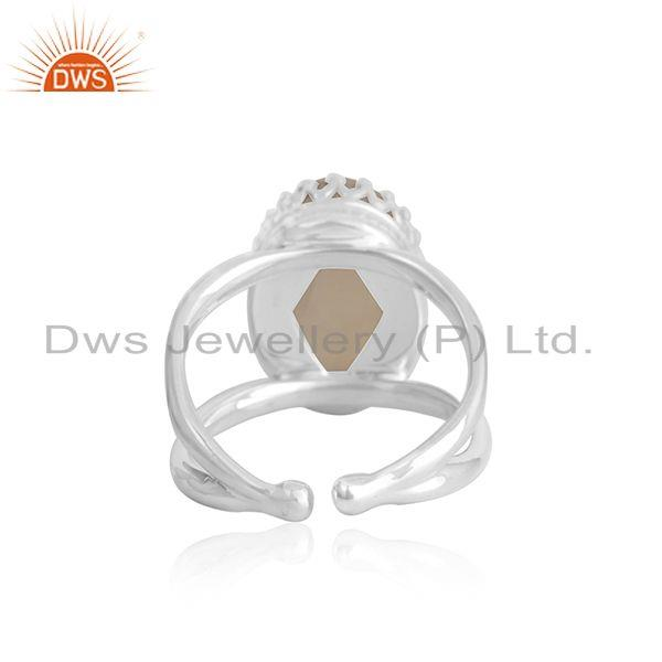 Suppliers Rainbow Moonstone Crown Design 925 Silver Ring Manufacturer INdia