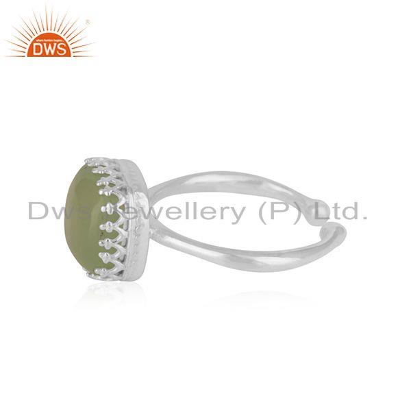 Suppliers Prehnite Chalcedony Gemstone Fine Sterling Silver Ring Wholesale
