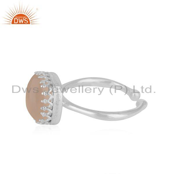 Suppliers Rose Chalcedony Gemstone Handmade Sterling Silver Ring Wholesaler India