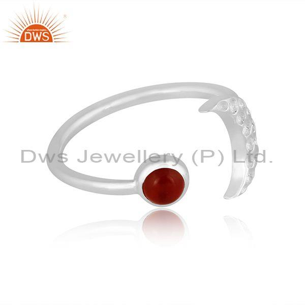 Red onyx set fine 925 sterling silver moon design open ring