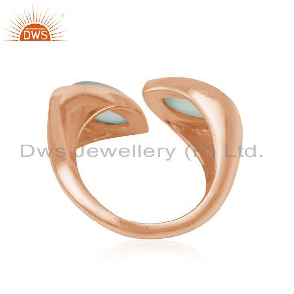 Suppliers New Look Designer Rose Gold Plated Silver Aqua Chalcedony Ring Jewelry