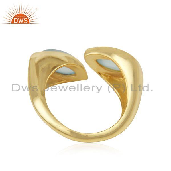Suppliers Aqua Chalcedony Gemstone Gold Plated Sterling Silver Ring Wholesaler
