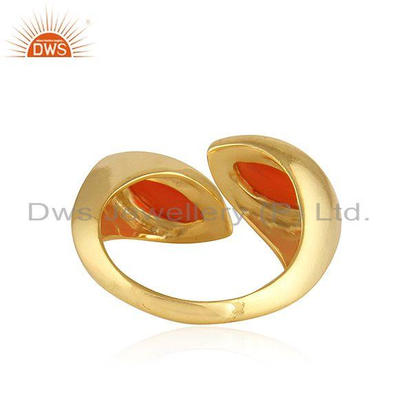 Suppliers Marquoise Shape Red Onyx Gemstone 92.5 Silver Gold Plated Rings