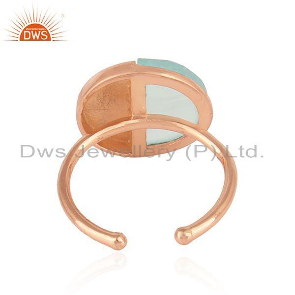 Suppliers Rose Gold Plated Designer Silver Aqua Chalcedony Gemstone Ring Jewelry