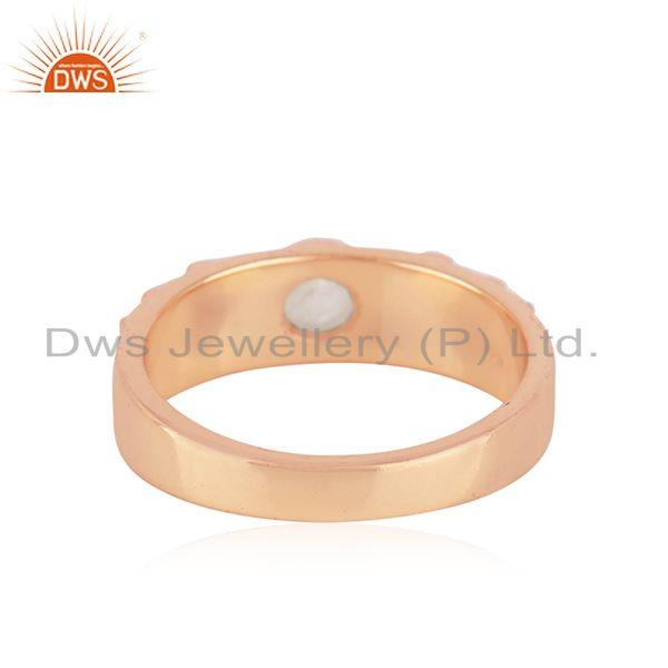 Supplier of Rose Gold Plated Sterling 925 Silver Moonstone Rainbow Band Rings in Jaipur