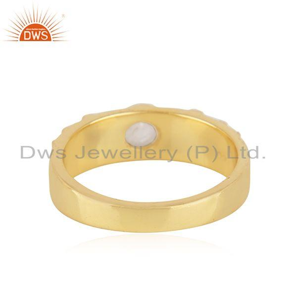 Suppliers Rainbow Moonstone Yellow Gold Plated 925 Silver Band Ring Manufacturer