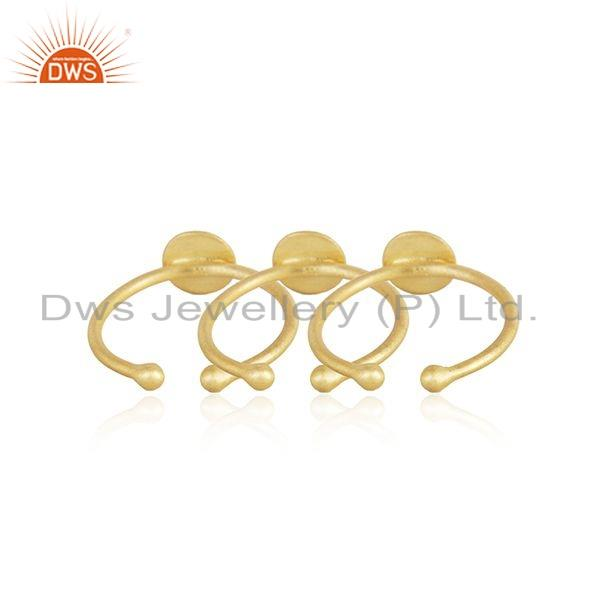 Suppliers 18k Yellow Gold Plated 925 Sterling Silver Girls 3 Rings Set Jewelry