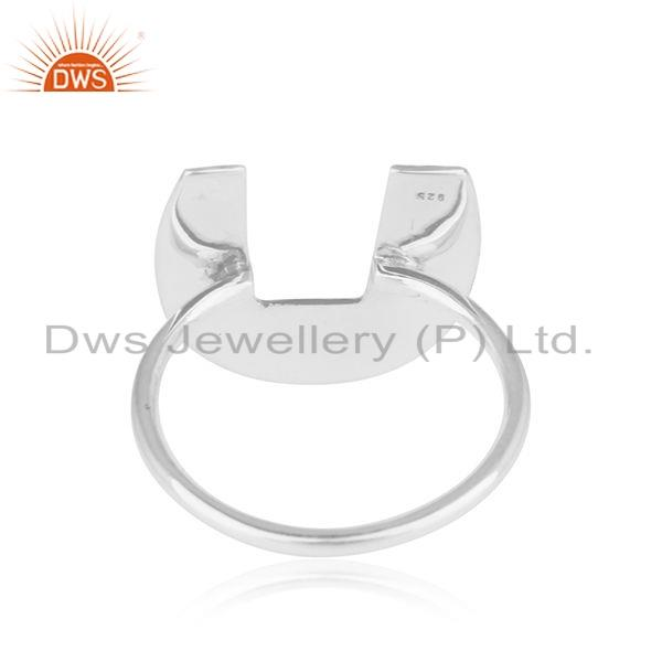 Suppliers Texture Oxidies 925 Sterling Silver Initial U Shape Girls Ring Jewelry