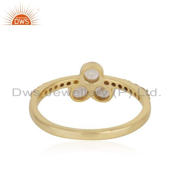 Suppliers Rainbow Moonstone Gemstone 18k Gold Plated Designe Silver Ring Jewelry