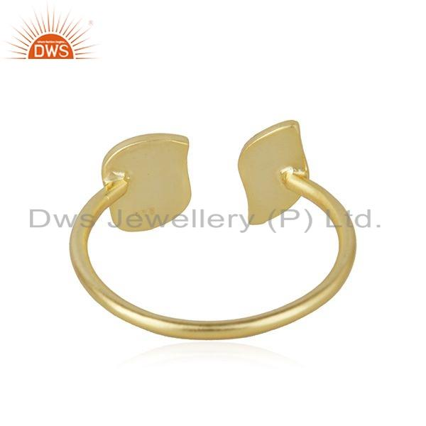 Suppliers Texture Gold Plated 925 Sterling Silver Designer Leaf Ring Jewelry