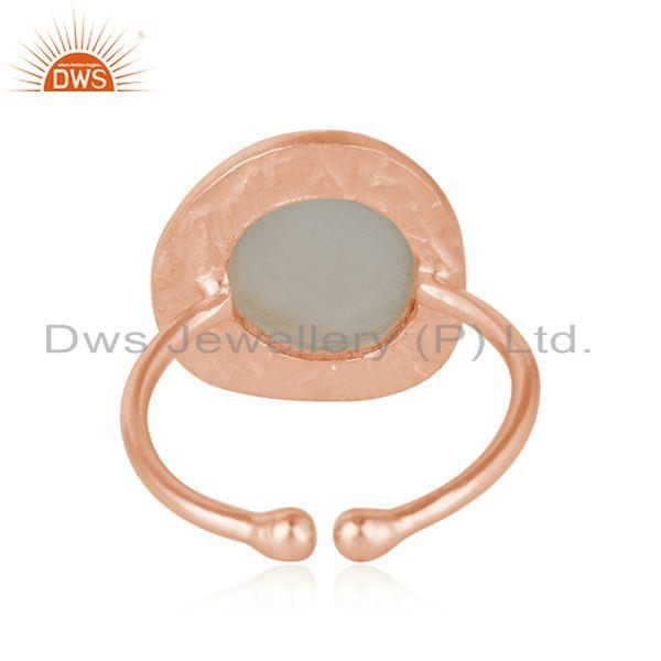 Suppliers New Arrival Rose Gold Plated Silver Gray Moonstone Ring Jewelry