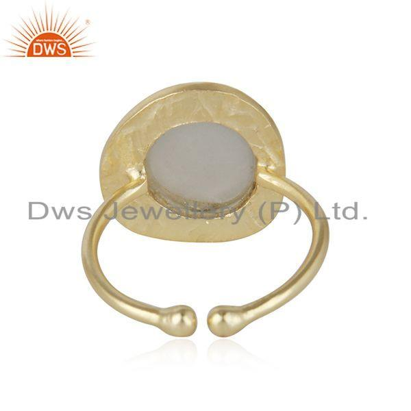 Suppliers Handmade 18k Gold Plated 925 Silver Gray Moonstone Gemstone Rings