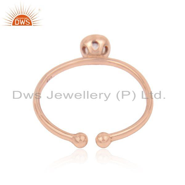 Suppliers Rose Gold Plated Silver Rose Quartz Gemstone Womens Ring Jewelry