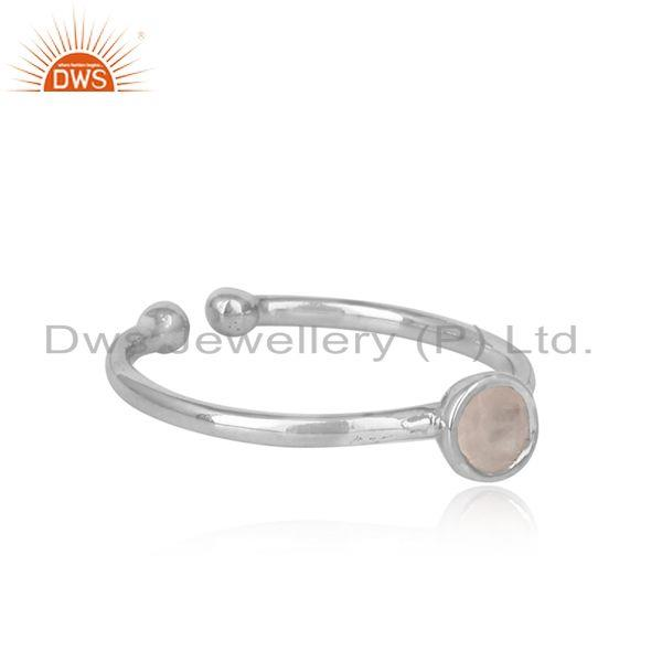 Designer of Handmade adjustable rose quartz ring in rhodium on silver 925