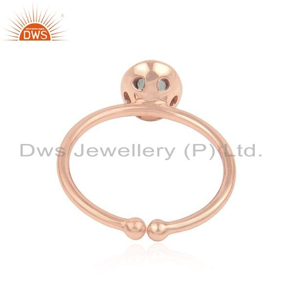 Suppliers Aqua Chalcedony Gemstone Womens Rose Gold Plated Silver Rings Jewelry