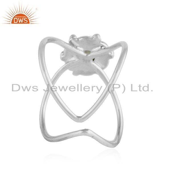 Suppliers Crystal Quartz Gemstone Oxidized Plated Sterling Silver Ring Jewelry