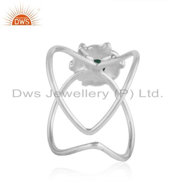 Suppliers Natural Emerald Gemstone Oxidized Designer 92.5 Silver Ring Jewelry
