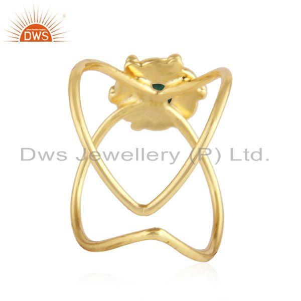 Suppliers Natural Emerald Gemstone Gold Plated Designer 92.5 Silver Ring Jewelry