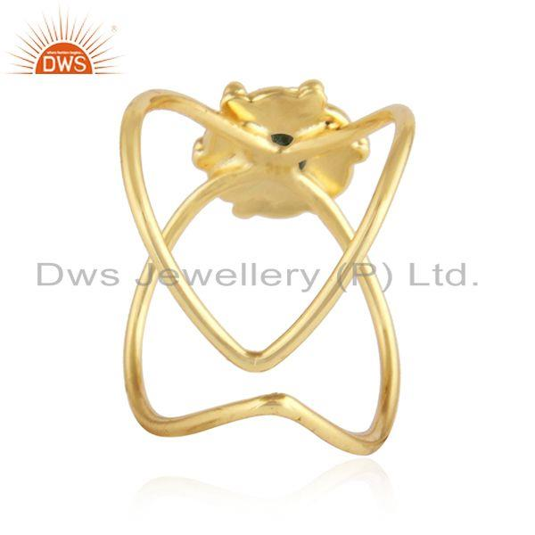 Suppliers Peridot Gemstone Gold Plated 925 Silver Handmade Design Rings Jewelry