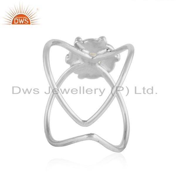 Suppliers Natural Pearl Gemstone Designer Oxidized Silver Stackable Ring Jewelry