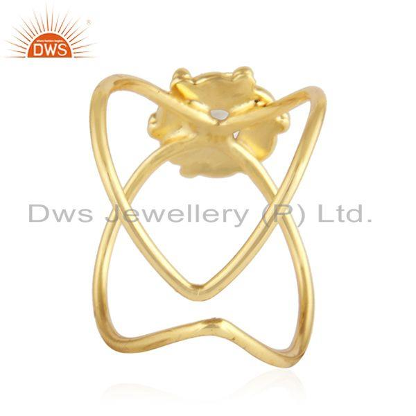 Suppliers Natura Pearl Gemstone Handmade Design Gold Plated Silver Ring Jewelry