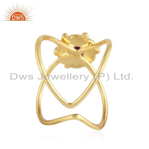 Suppliers Natural Ruby Gemstone Designer Gold Plated Silver Womens Rings Jewelry