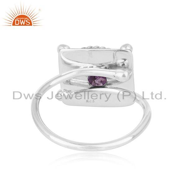 Suppliers Vintage Design Oxidized 925 Silver Natural Amethyst Gemstone Rings
