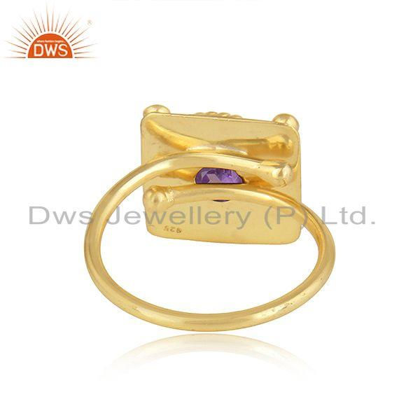 Suppliers 22k Gold Plated Vintage Design Silver Natural Amethyst Ring Jewelry