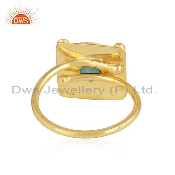 Suppliers Apatite Gemstone Designer Yellow Gold Plated 925 Silver Ring Jewelry