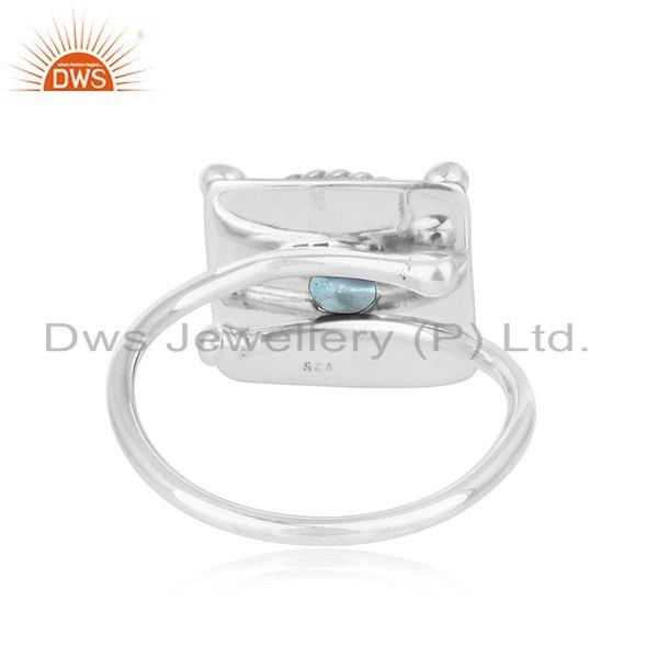Suppliers Blue Topaz Gemstone Antique Oxidized Silver Ring Jewelry For  Girls