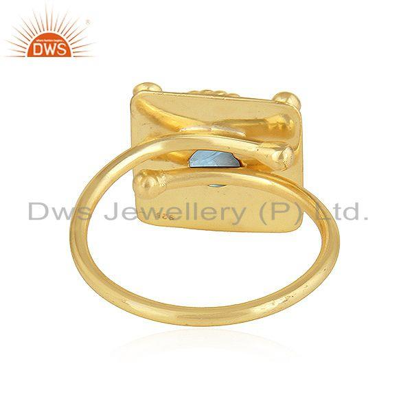 Suppliers Vintage Designer Yellow Gold Plated 925 Silver Blue Topaz Ring Jewelry