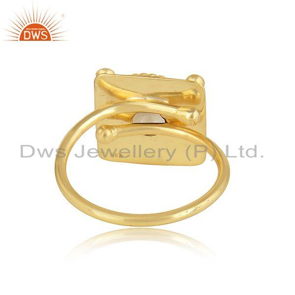 Suppliers New Arrival 18k Gold Plated Designer Silver Citrine Gemstone Rings