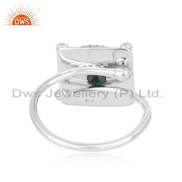 Suppliers Natural Emerald Gemstone Antique 925 Silver Oxidized Ring Jewelry