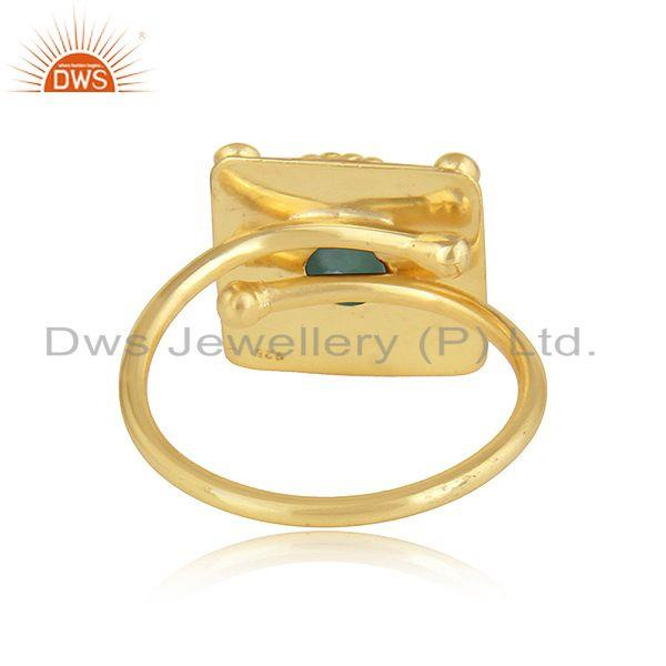 Suppliers Handamde Yellow Gold Plated Silver Natural Emerald Gemstone Rings