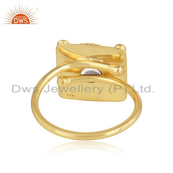 Suppliers Ethiopian Opal Gemstone Designer Gold Plated 925 Silver Ring Jewelry