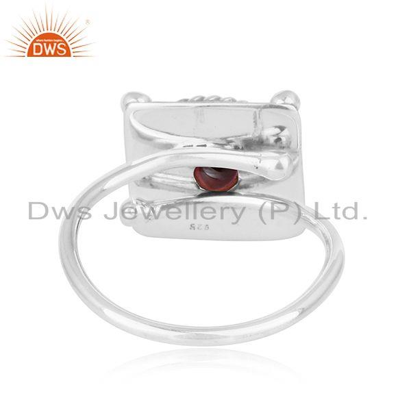 Suppliers Natural Garnet Vintage Design Sterling Silver Oxidized Ring For Womens