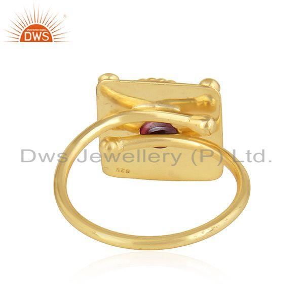 Suppliers Natural Garnet Gemstone Gold Plated Vintage Designer Silver Rings