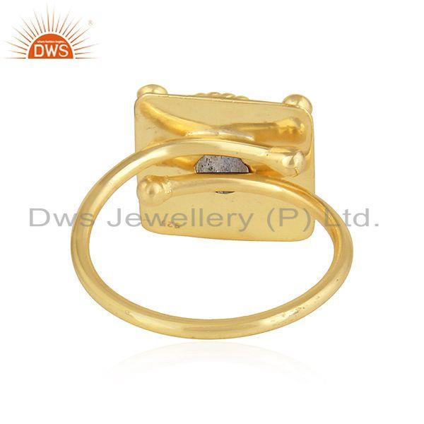 Suppliers Labradorite Gemstone New Yellow Gold Plated Silver Ring Jewelry
