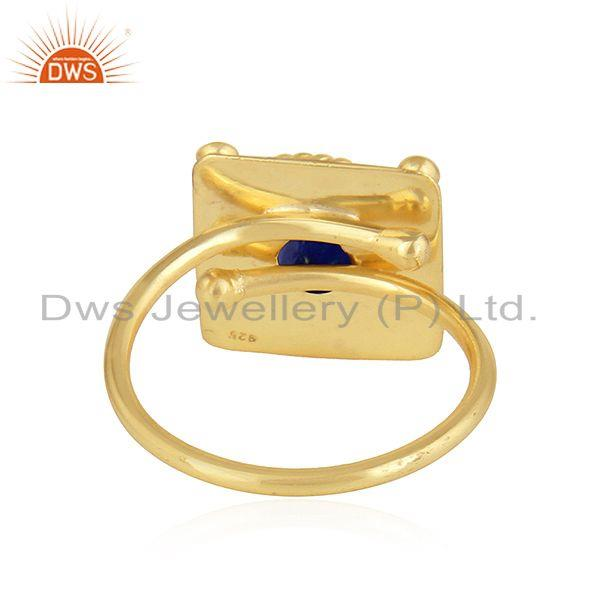 Suppliers Natural Lapis Lazuli Gemstone Gold Plated Handmade Silver Ring Jewelry