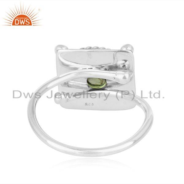 Suppliers Peridot Gemstone Oxidized 925 Silver Antique Design Womens Rings