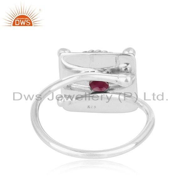 Suppliers Handmade Oxidized 925 Sterling Silver Natural Ruby Ring Jewelry
