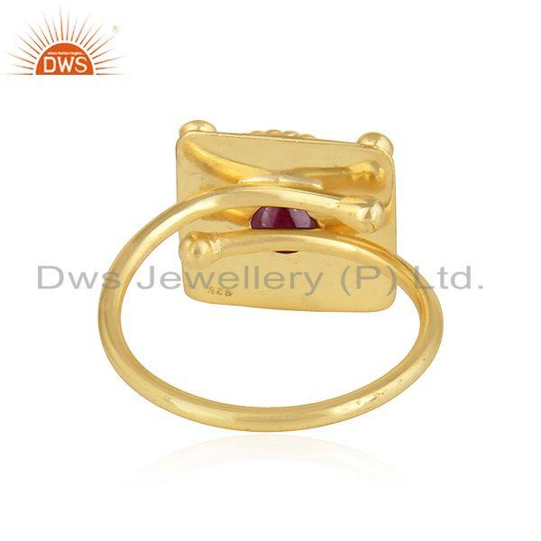 Suppliers Vintage Design Yellow Gold Plated Silver Natural Ruby Gemstone Rings