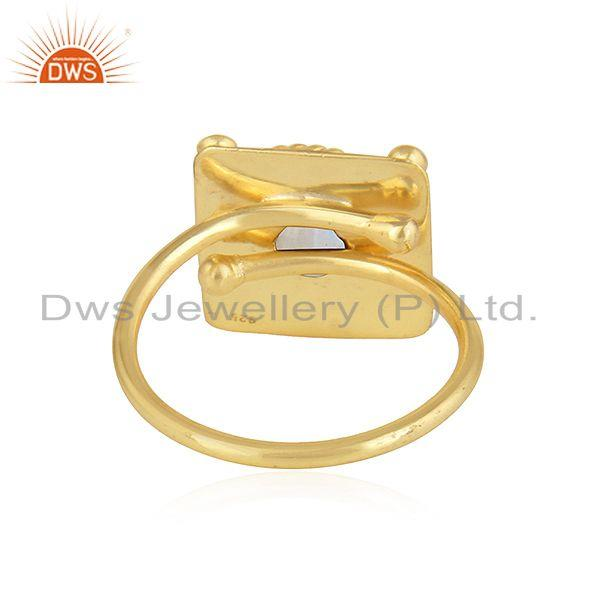 Suppliers Rainbow Moonstone Designer Yellow Gold Plated 925 Silver Ring Jewelry