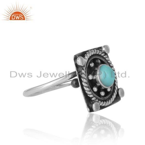 Designer of Designer handmade ring in oxidized silver and arizona turquoise