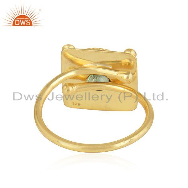 Suppliers Green Tourmaline Gemstone Yellow Gold Plated Silver Designer Rings